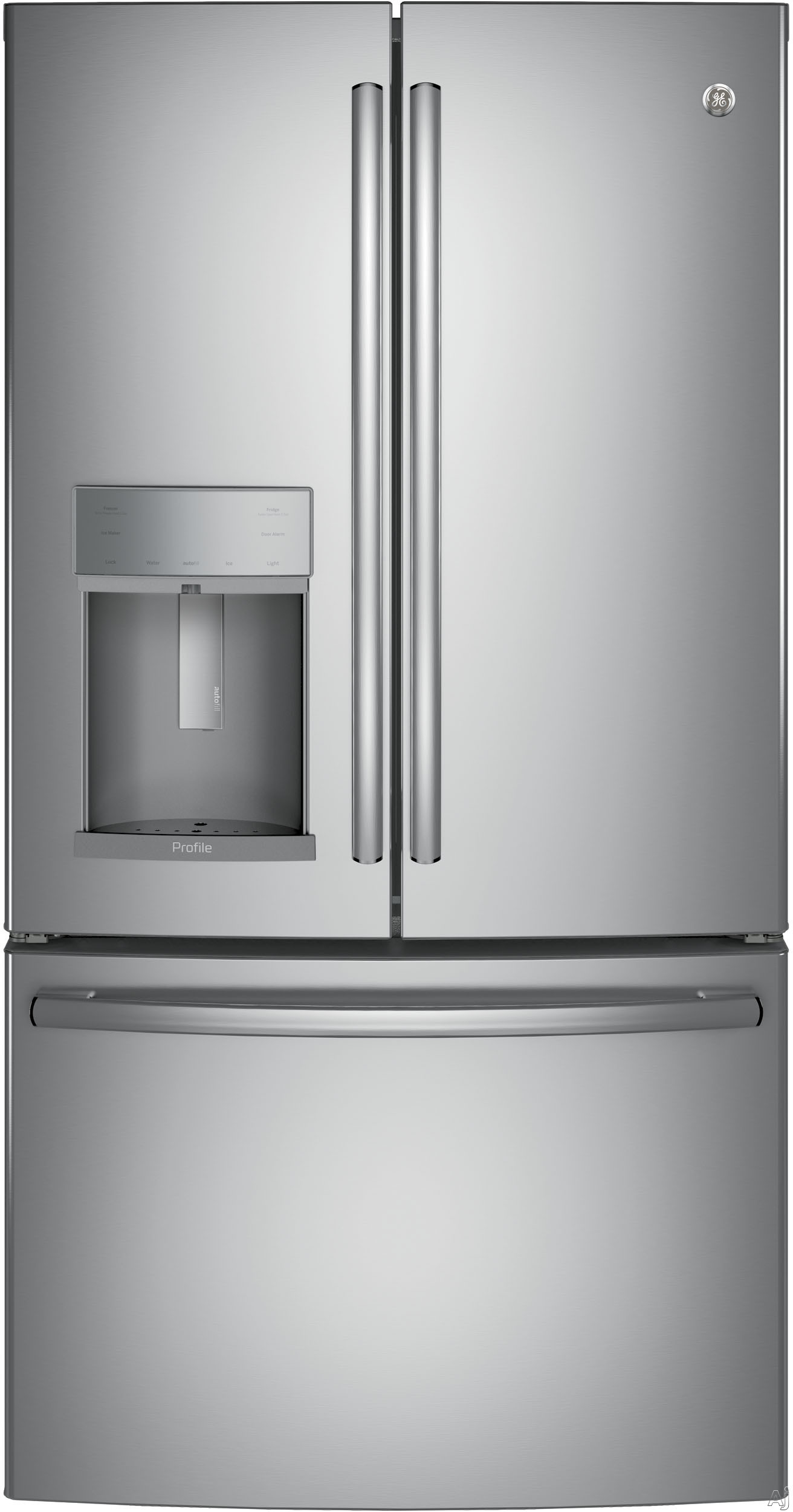 GE Profile PFE28KSKSS 36 Inch French Door Refrigerator with Temperature-Controlled Drawer, Turbo Cool Setting, Autofill External Dispenser, 27.8 cu. ft. Capacity, Adjustable Spill-Proof Shelving, Sabbath Mode, ADA Compliant and ENERGY STAR®: Stainless Steel