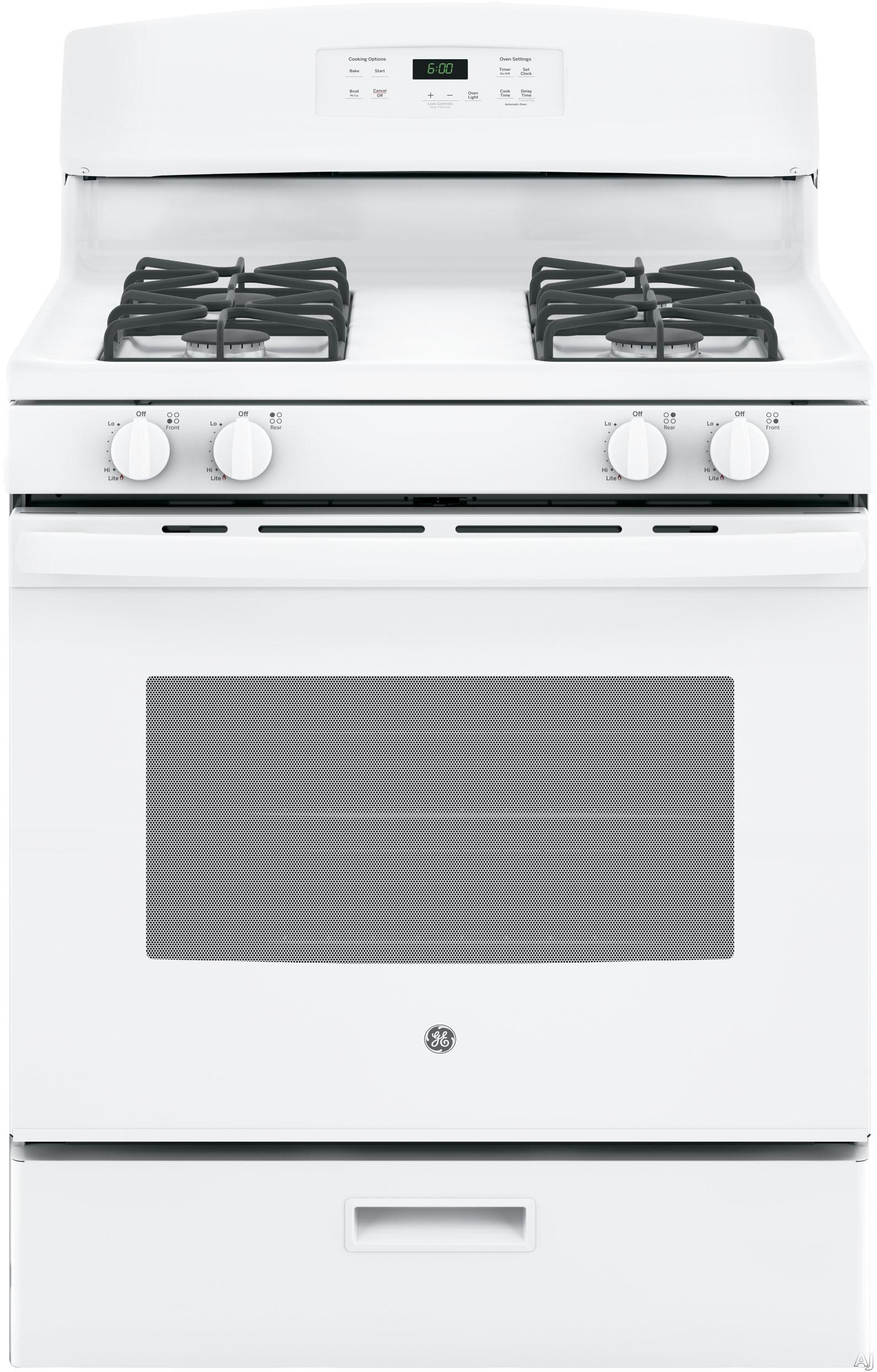 GE JGBS60DEKWW 30 Inch Freestanding Gas Range with Precise Simmer Burner, Power Burner, Broiler Drawer, 4.8 cu. ft. Capacity, 4 Sealed Burners and Star-K Certified: White