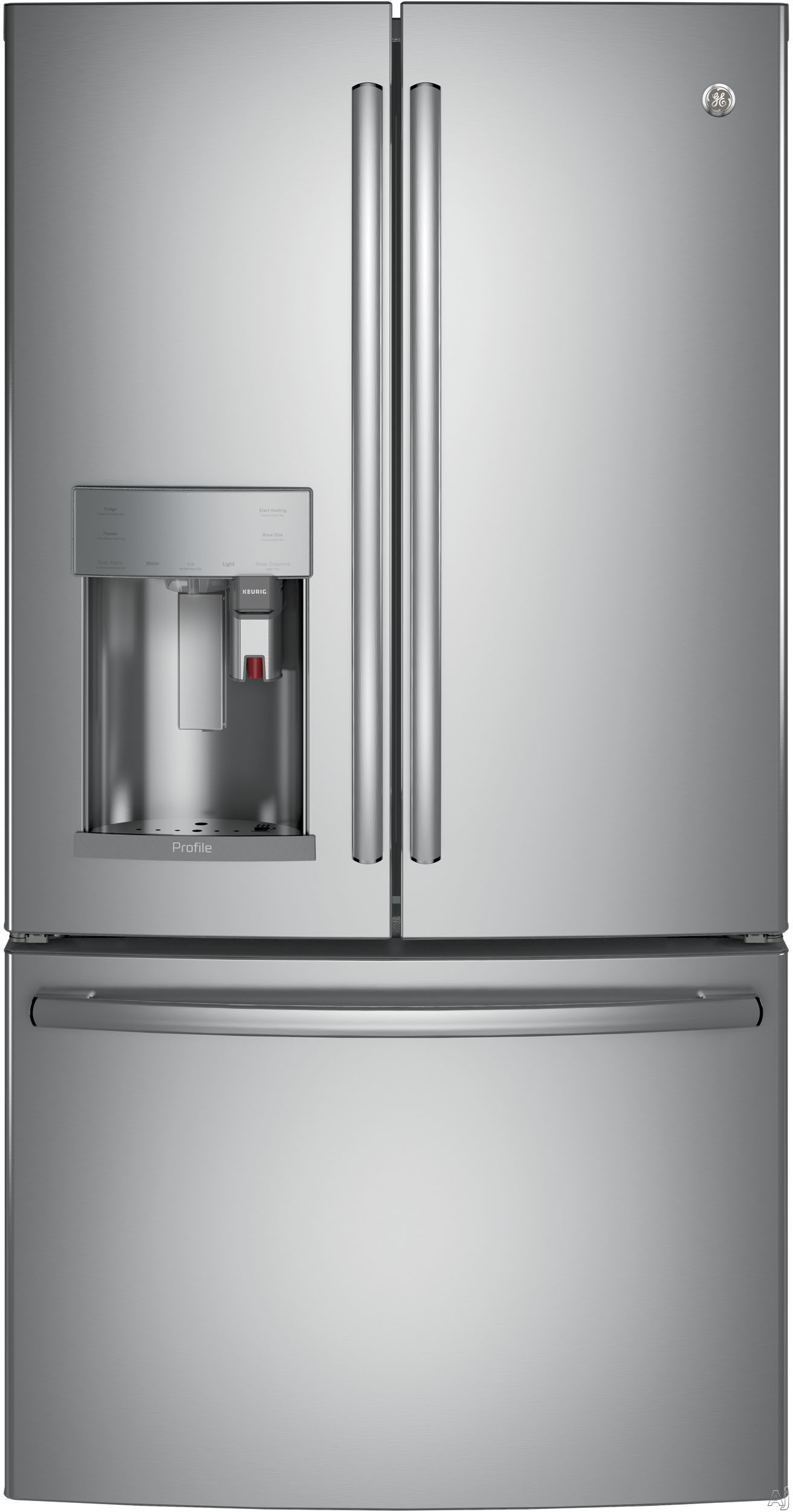 GE Profile PFE28PSKSS 36 Inch French Door Refrigerator with Keurig® K-Cup®, WiFi Connect, Hot Water Dispenser, TwinChill™, Temperature Controlled Drawer, Quick Space Shelf, Drop Down Tray,