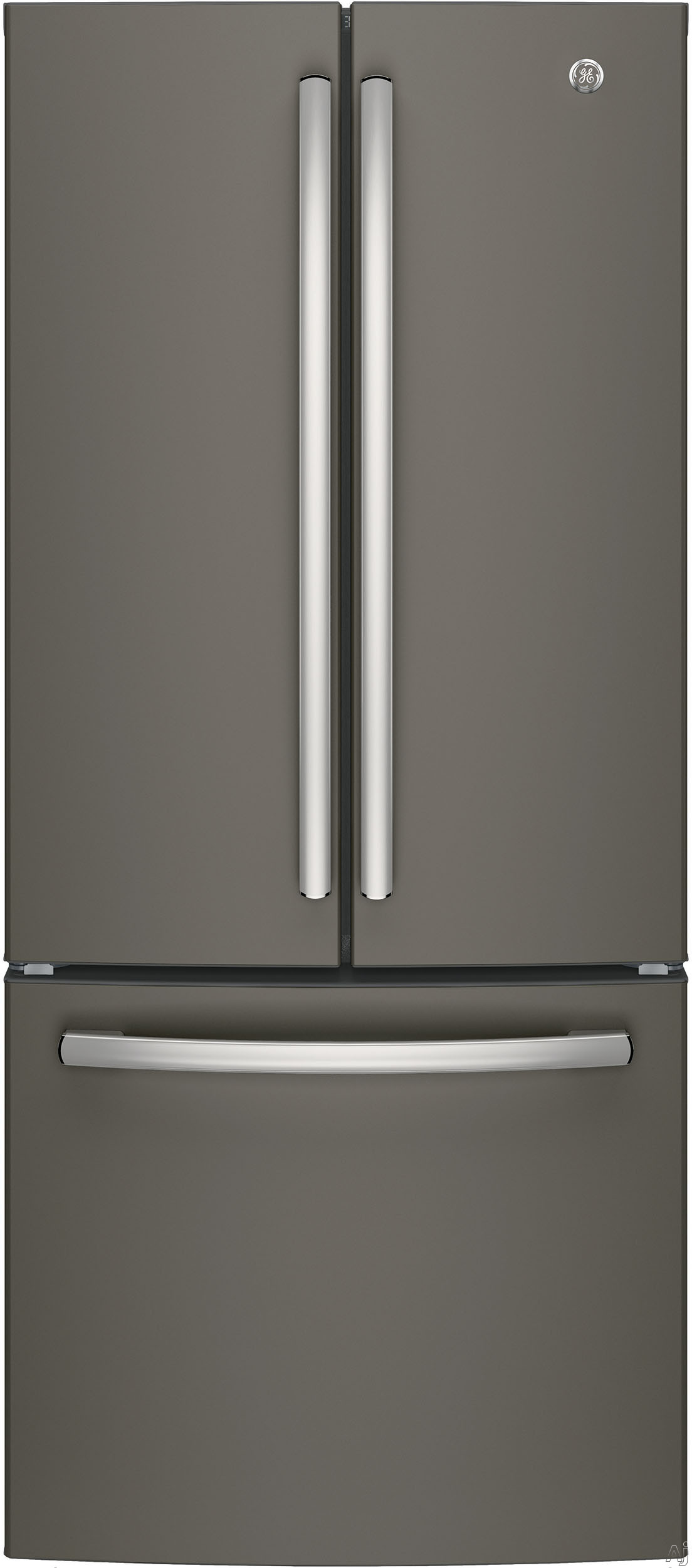 GE GNE21FMKES 30 Inch French Door Refrigerator with 20.8 Cu. Ft. Capacity, LED Lighting, Door Alarm, 2 Adjustable Shelves, 2 Humidity Controlled Drawers, 1 Adjustable Temperature Drawer, 8 Door Bins, 2 Freezer Drawers, Icemaker and Energy Star Qualified: Slate