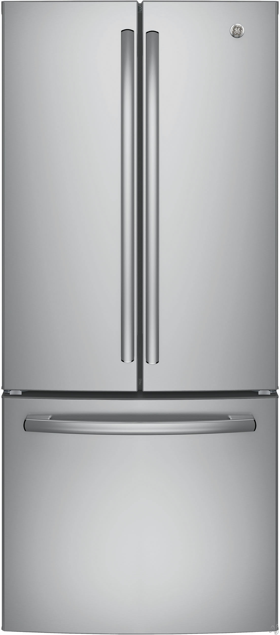 GE GNE21F 30 Inch French-Door Refrigerator with 20.8 Cu. Ft. Capacity, LED Lighting, Door Alarm, 2 Adjustable Shelves, 2 Humidity Controlled Drawers, 1 Adjustable Temperature Drawer, 8 Door Bins, 2 Freezer Drawers, Icemaker and Energy Star Qualified