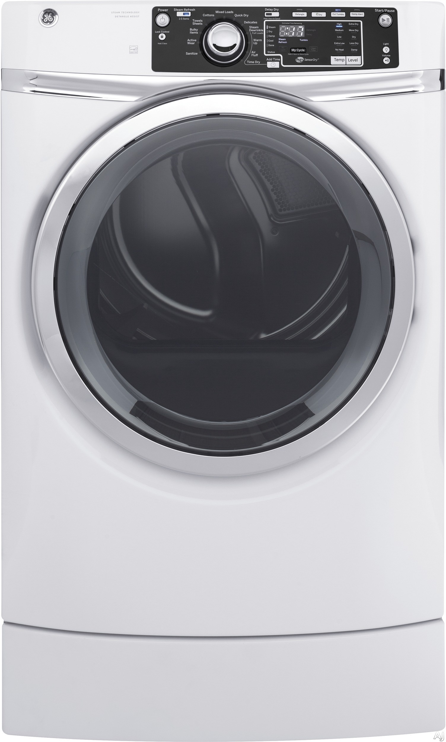 GE RightHeight Design Series GFD49E 28 Inch Electric Dryer with 8.3 cu. ft. Capacity, 13 Dry Cycles, RightHeight Built-In Pedestal, Steam, Sanitize Cycle, Detangle Assist, HE Sensor Dry, ADA Compliant Design and ENERGY STAR