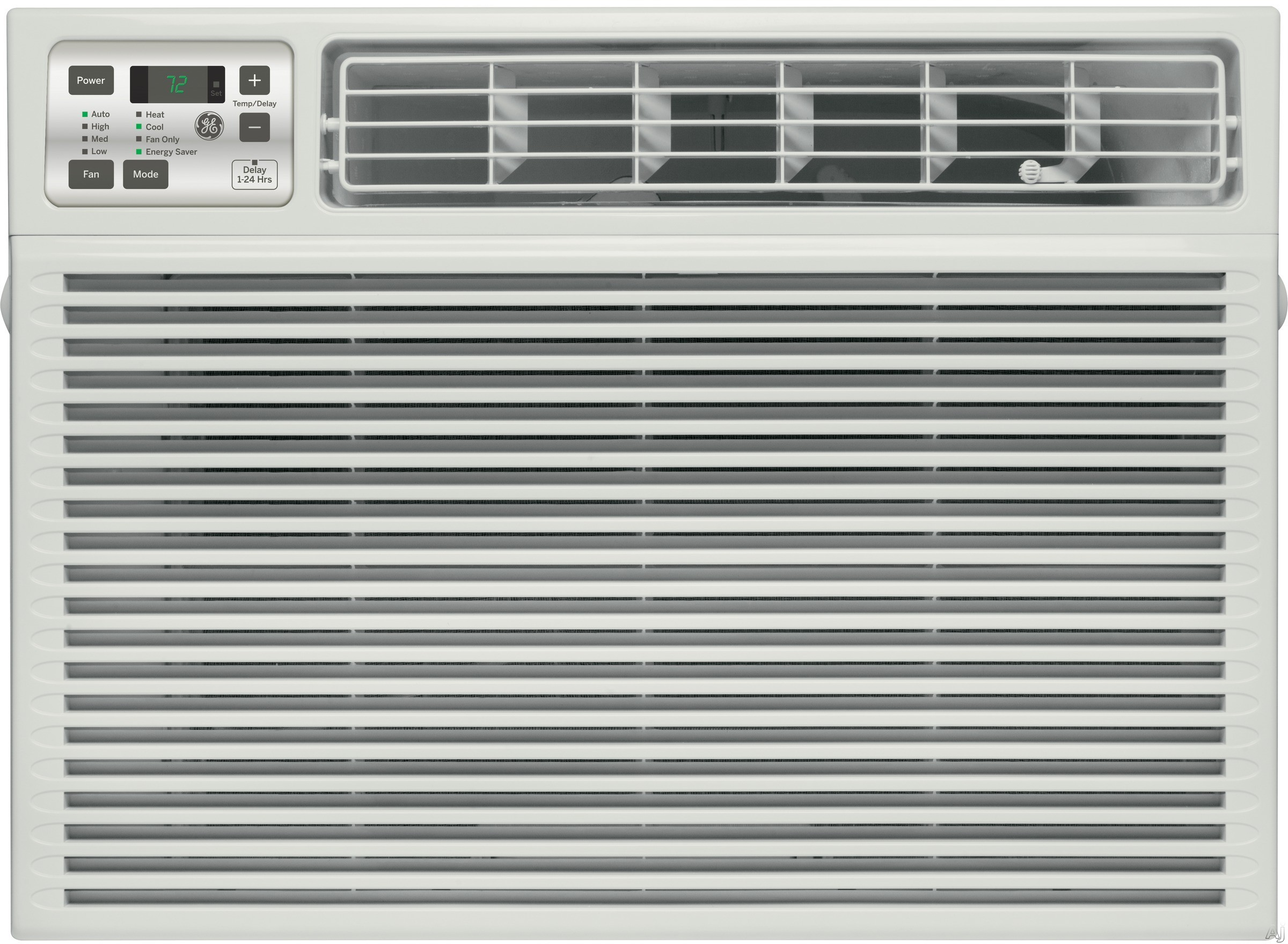 GE AEE24DT 24,000 BTU Room Air Conditioner with 11,000 Heating BTU, 470 CFM, 9.4 CEER, 8 Pts/Hr Dehumidification Capacity, Electronic Digital Thermostat with Remote and Energy Saver Feature AEE24DT