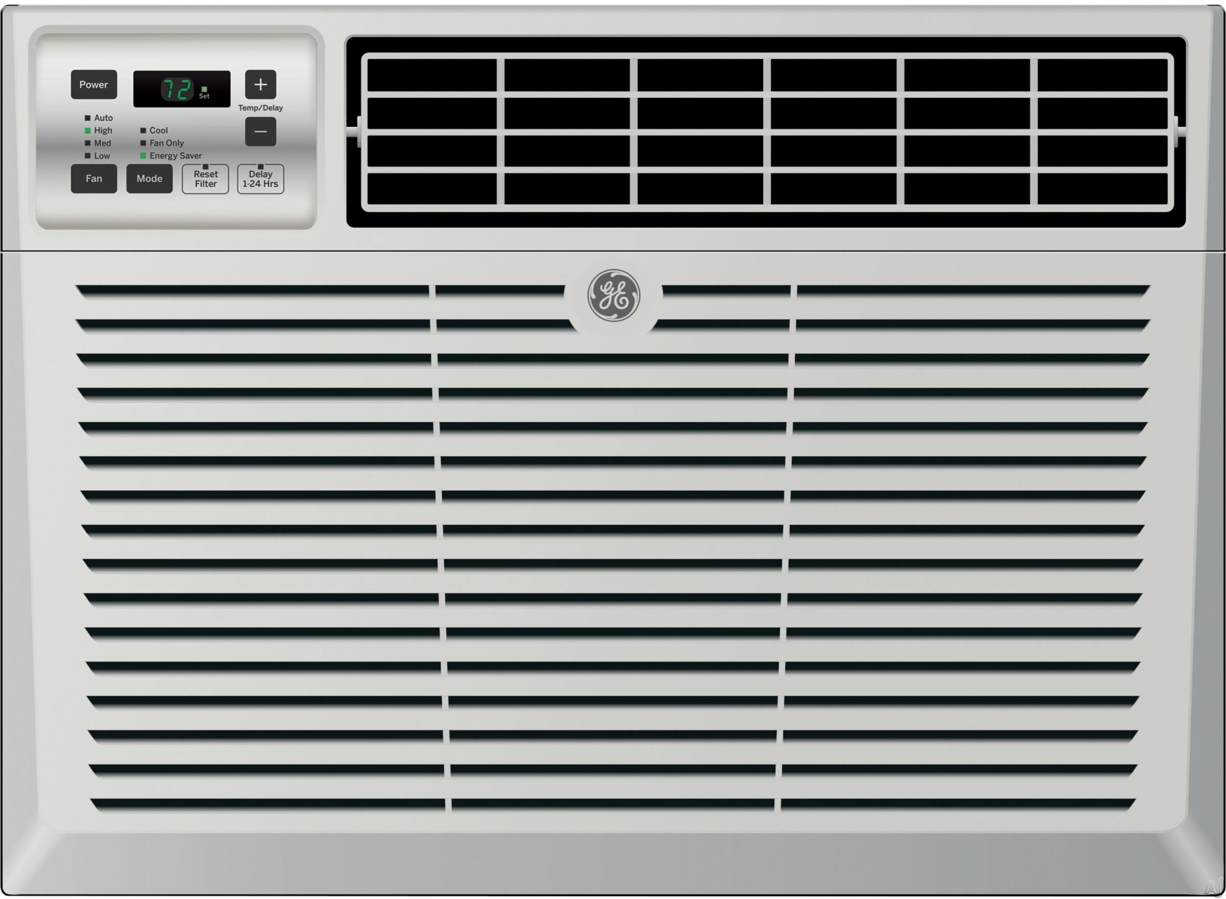 GE AEM18DV 18 000 BTU Room Air Conditioner with 425 CFM 11.8 CEER 5.5 Pts Hr Dehumidification 3 Fan Speeds Electronic Digital Thermostat with Remote EZ Mount Window Kit with Slide Out Chassis and ENER