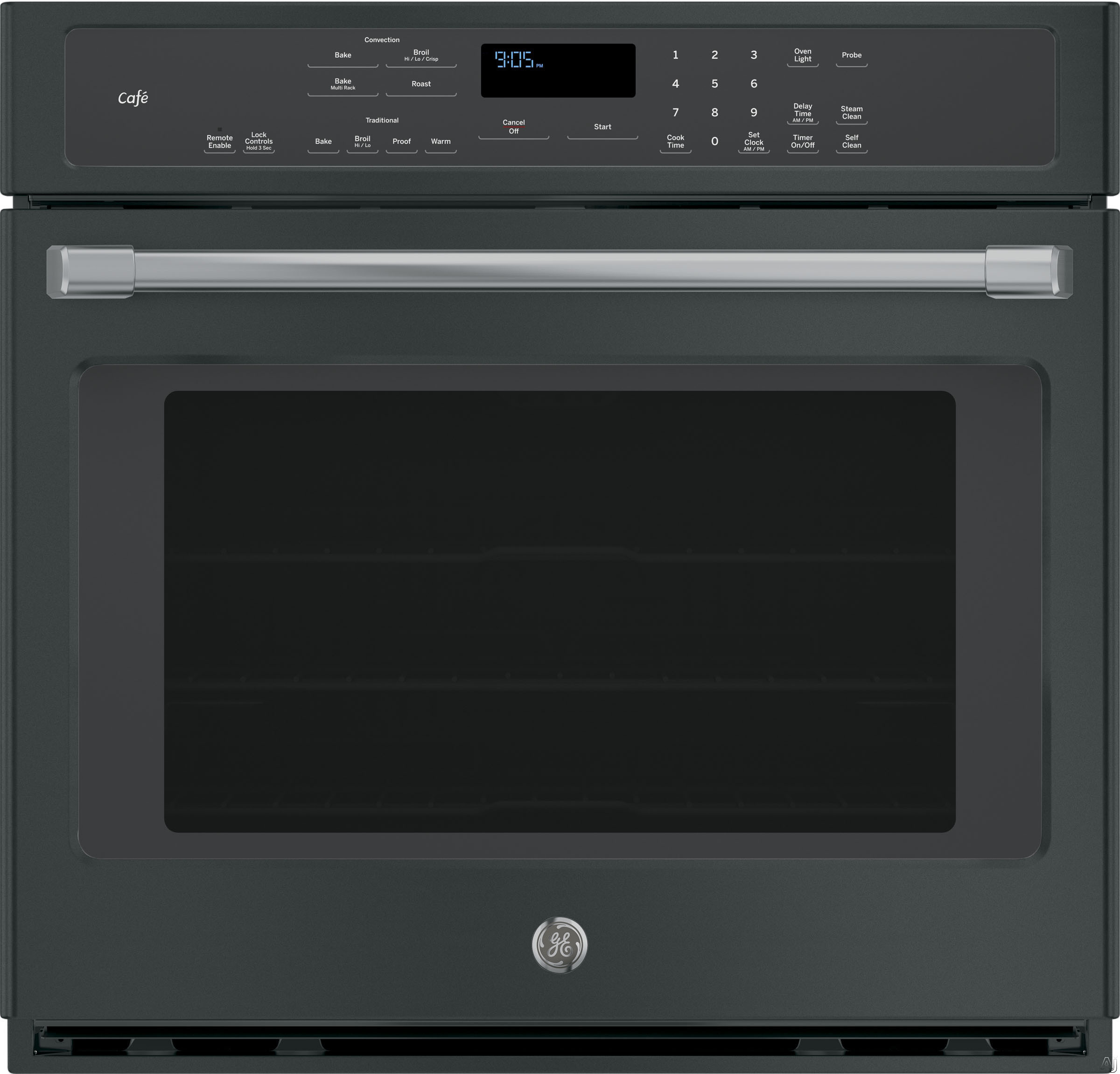 GE Cafe Series CT9050S 30 Inch Single Electric Wall Oven with 5.0 cu. ft. True European Convection Oven Capacity, WiFi Connect, Interior Halogen Lighting, GE Fits! Guarantee, Star-K Certified Sabbath