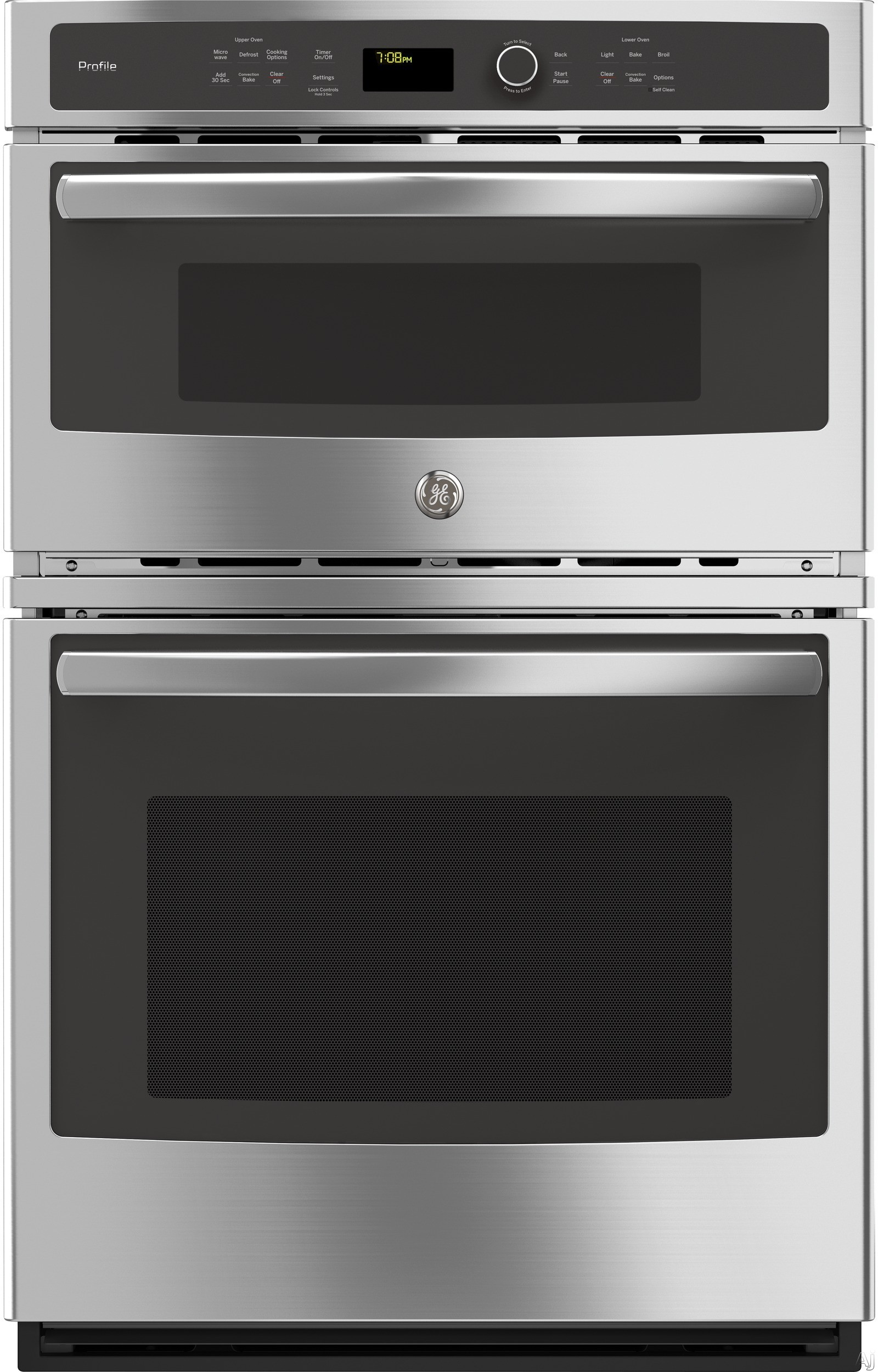 GE Profile PK7800SKSS 27 Inch Combination Electric Wall Oven with 6 Total cu. ft. Capacity, True European Convection Oven, Convection Microwave, Proof, Defrost, Warm, Delay Start, Ten-Pass Bake Elemen