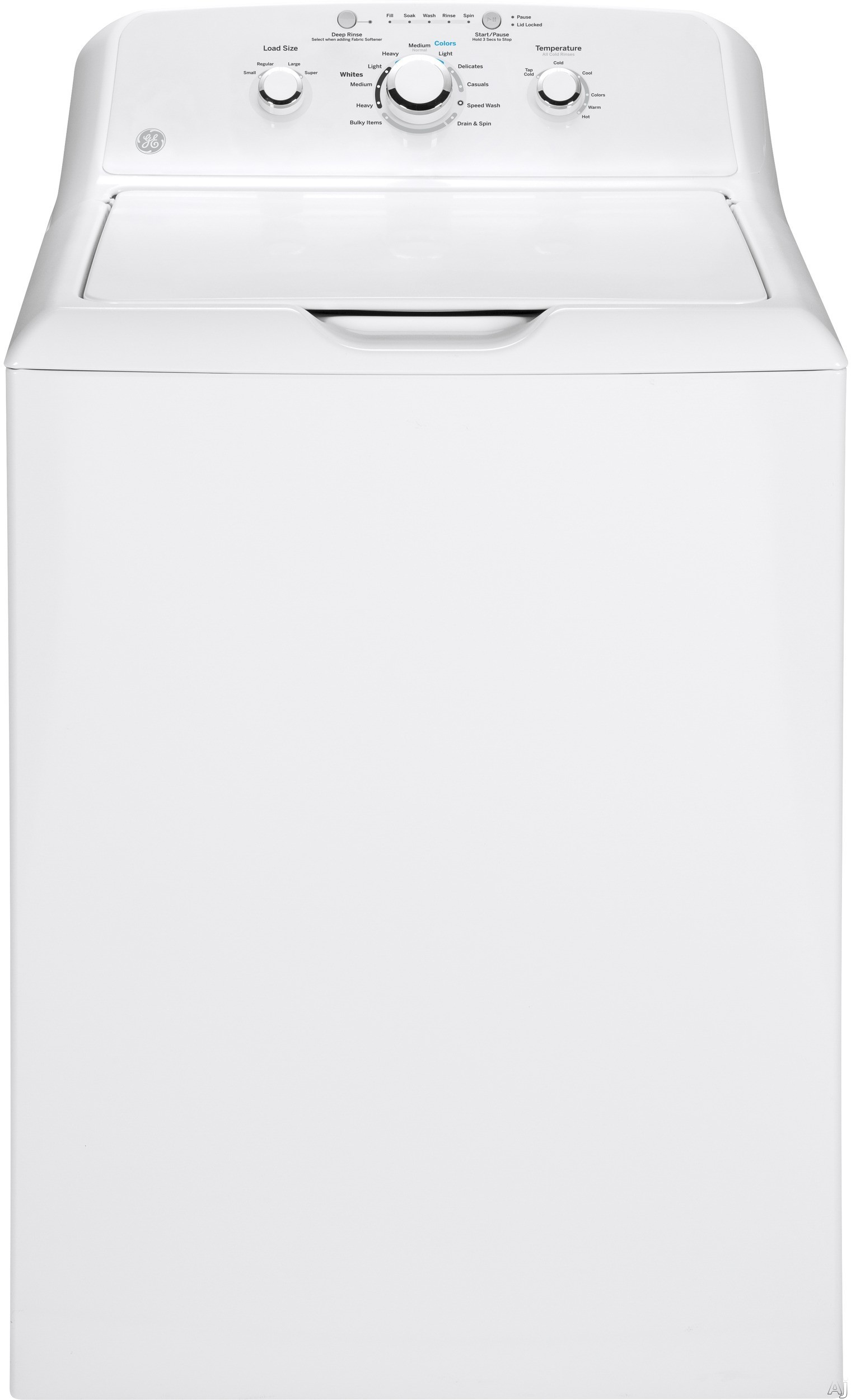 Picture of 27 Inch 3.8 cu. ft. Top Load Washer with 11 Wash CyclesNo job is too large or too small for this powerful top-load washer by GE. This washer's 3.6 cubic-feet of washing space allows you to wash the largest of laundry loads, even bulky blankets and towels. Select your preferred load size for the desired water level or let the machine automatically sense the load and add the amount of water needed t