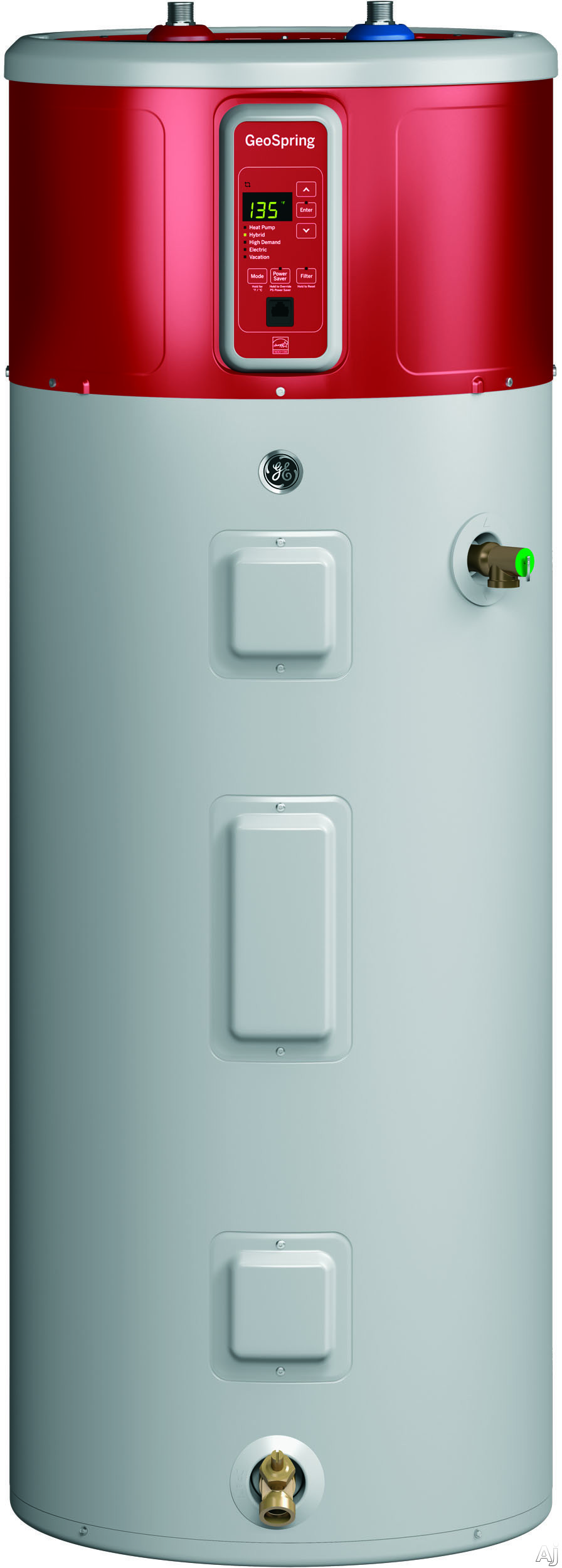 GE GeoSpring GEH80DFEJSR 25 Inch Hybrid Electric Water Heater with 80-Gallon Capacity, Energy Star Qualification, Vacation Setting and Exterior Heat Pump Technology