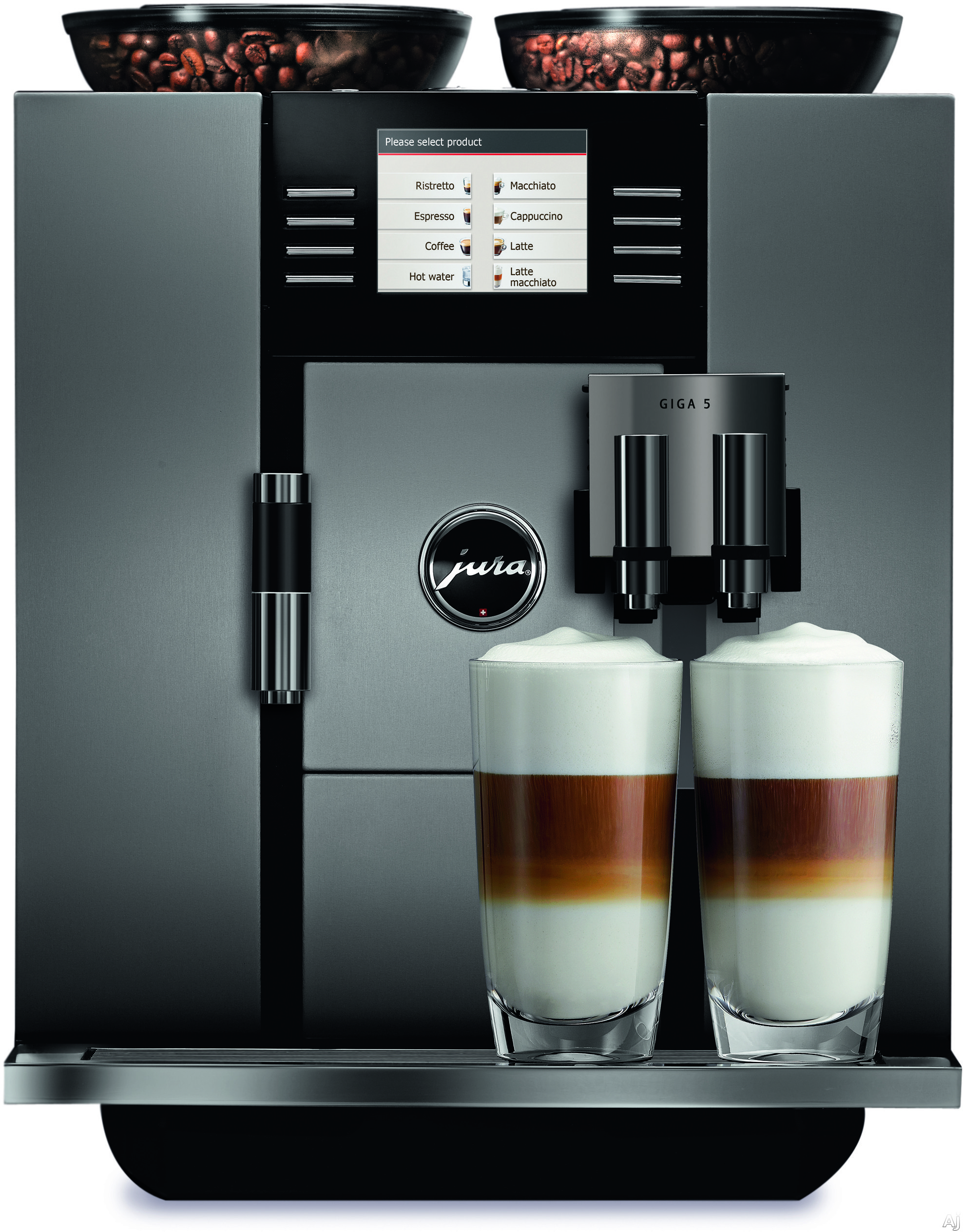Jura 13623 Giga 5 Aluminum Automatic Coffee Machine with Pre-Brew Aroma System, 19 Programmable Presets, Two Thermoblock Heating Systems, Two Grinders, Milk Frothing System, Integrated Cleaning System, Hot Water Function and 15 Bar Pump 13623