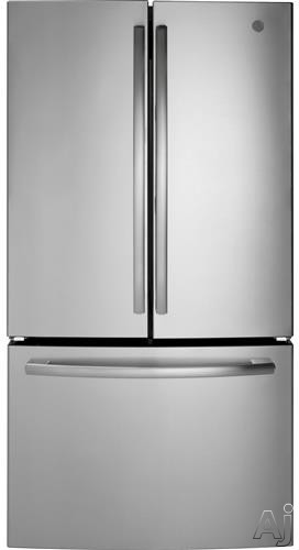 Picture of GE GNE27ESMSS 36 Inch French Door Refrigerator with Ice Maker LED Lighting Spill-Proof Shelves Turbo Cool Setting Advanced Water Filtration 27 cu ft Capacity Sabbath Mode and ENERGY STAR
