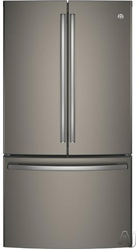 GE GNE29GMKES 36 Inch French Door Refrigerator with 28 cu. ft. Capacity, 4 Adjustable Glass Shelves, Full-Width Deli Snack Drawer, TwinChill Evaporators, Showcase LED, Advanced Water Filtration, Sabbath Mode, ENERGY STAR and Factory Installed Ice Maker: