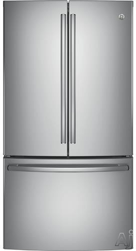GE GNE29G 36 Inch French Door Refrigerator with 28 cu. ft. Capacity, 4 Adjustable Glass Shelves, Full-Width Deli Snack Drawer, TwinChill Evaporators, Showcase LED, Advanced Water Filtration, Sabbath Mode, ENERGY STAR and Factory Installed Ice Maker GNE29