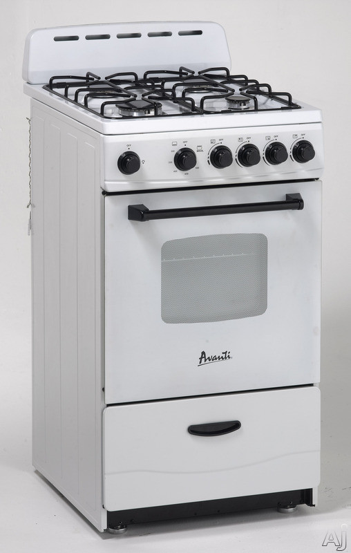 Avanti GR2011CW 20 Inch Freestanding Gas Range with 2.1 cu ft. Capacity, 4 Sealed Burners, Waist-High Broiler, Backsplash, LP Conversion Kit, Storage Drawer and ADA Compliant: White