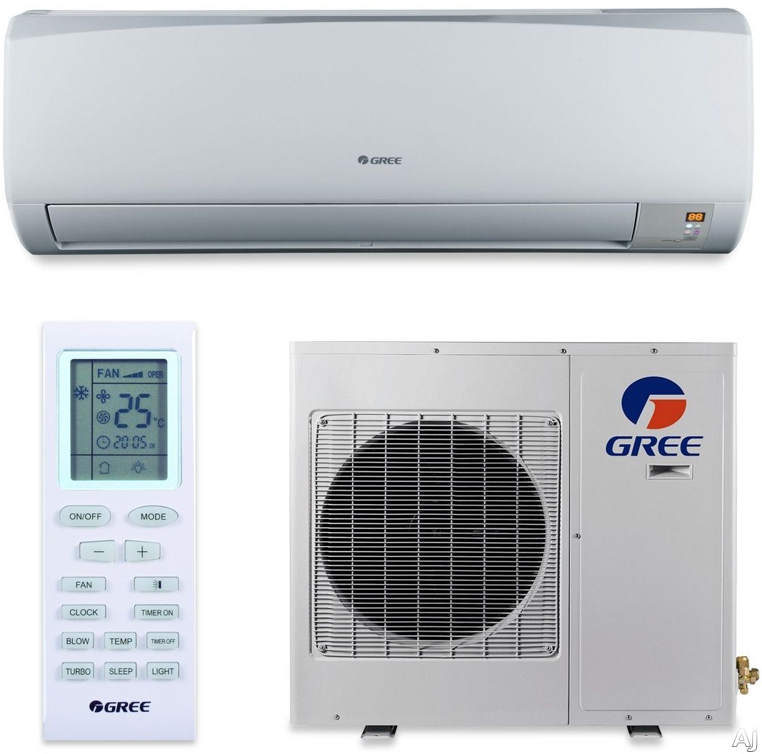 Gree Rio Series RIO12HP115V1A 12,000 BTU Single Zone Wall Mount Cool-Heat Pump Ductless Split System with DC Inverter, Quiet Design, Low Ambient Cool, Wireless Remote Control, LED Display, 341 CFM and ENERGY STAR, RIO12HP115V1AH Indoor - RIO12HP115V1AO O