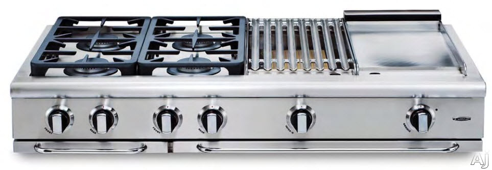 Capital Precision Series Grt484bgn 48 Inch Gas Rangetop With 4 Sealed Burners, 19,000 Btu, Hybrid Radiant Bbq Grill, 12 Inch Thermo-griddle, Burner Auto-ignition, Grill And Griddle Covers Included And Continuous Cast Iron Grates: Natural Gas