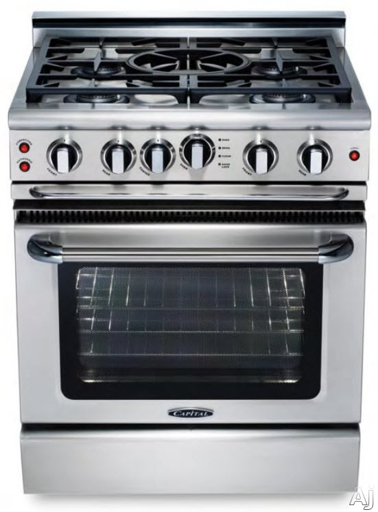 Capital Precision Series GSCR304B 30 Inch Gas Range with 4 Sealed Burners, 19,000 BTU, 4.1 cu. ft. Oven, 30,000 BTU Oven Bake, 9 Inch Hybrid Radiant BBQ Grill, Motorized Rotisserie and Cast Iron Continuous Grates GSCR304B