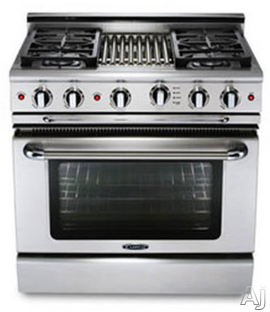 Capital Precision Series GSCR364B 36 Inch Gas Range with 4 Sealed Burners, 19,000 BTU, 4.6 cu. ft. Oven, 30,000 BTU Oven Bake, 9 Inch Hybrid Radiant BBQ Grill, Motorized Rotisserie and Cast Iron Continuous Grates GSCR364B