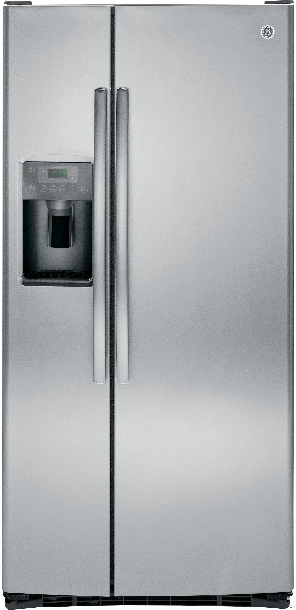 GE GSE23GSKSS 33 Inch Side-by-Side Refrigerator with Ice and Water Dispenser, Advanced Water Filtration, Snack Drawer, Humidity-Controlled Crisper Drawer, Spillproof Slide-Out Glass Shelving, Gallon Door Storage, ENERGY STAR® and 23.2 cu. ft. Capacity: Stainless Steel