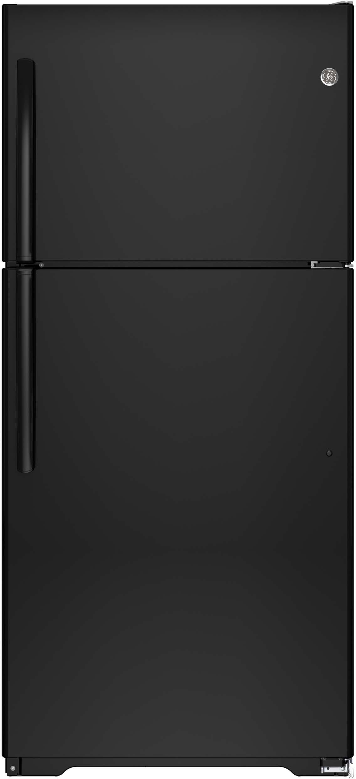 GE GTE18ITHBB 30 Inch Top-Freezer Refrigerator with Snack Drawer, Spillproof Freezer Floor, Optional Ice Maker, Adjustable Glass Shelving, Gallon Door Storage, ADA Compliant, ENERGY STAR® and 18.2 cu. ft. Capacity: Black