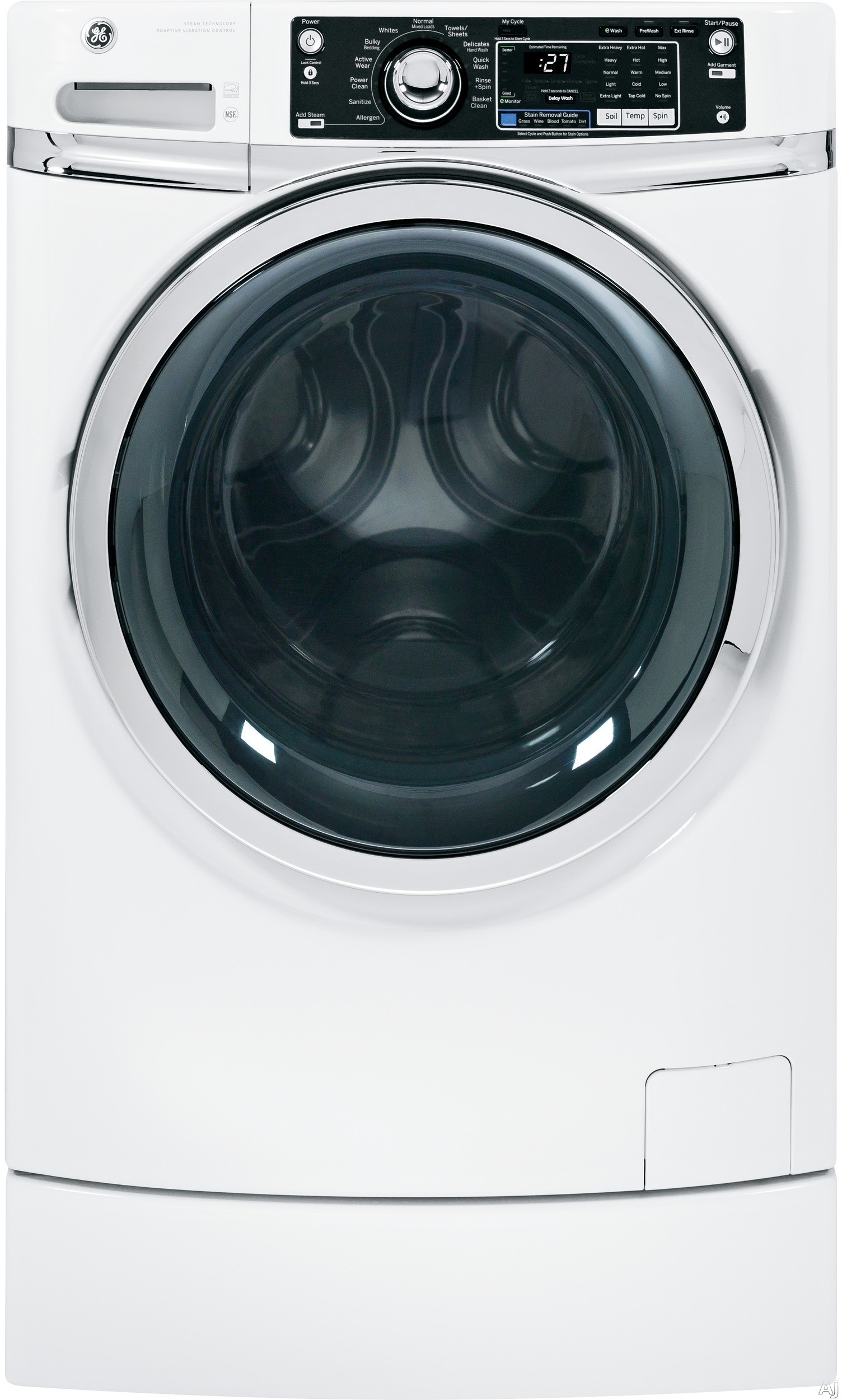 GE - 4.5 Cu. Ft. 12-Cycle High-Efficiency Steam Front-Loading Washer - White GFWR2700HWW