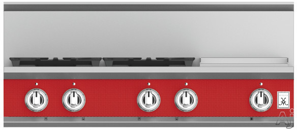 "Hestan KRT364GDLPRD 36 Inch Rangetop with 4 Sealed Burners, 12 Inch Griddle, Cast-Iron Continuous Grates, Backlit Control Knobs and Marquiseâ""¢ Control Panel: Natural Gas / Matador"