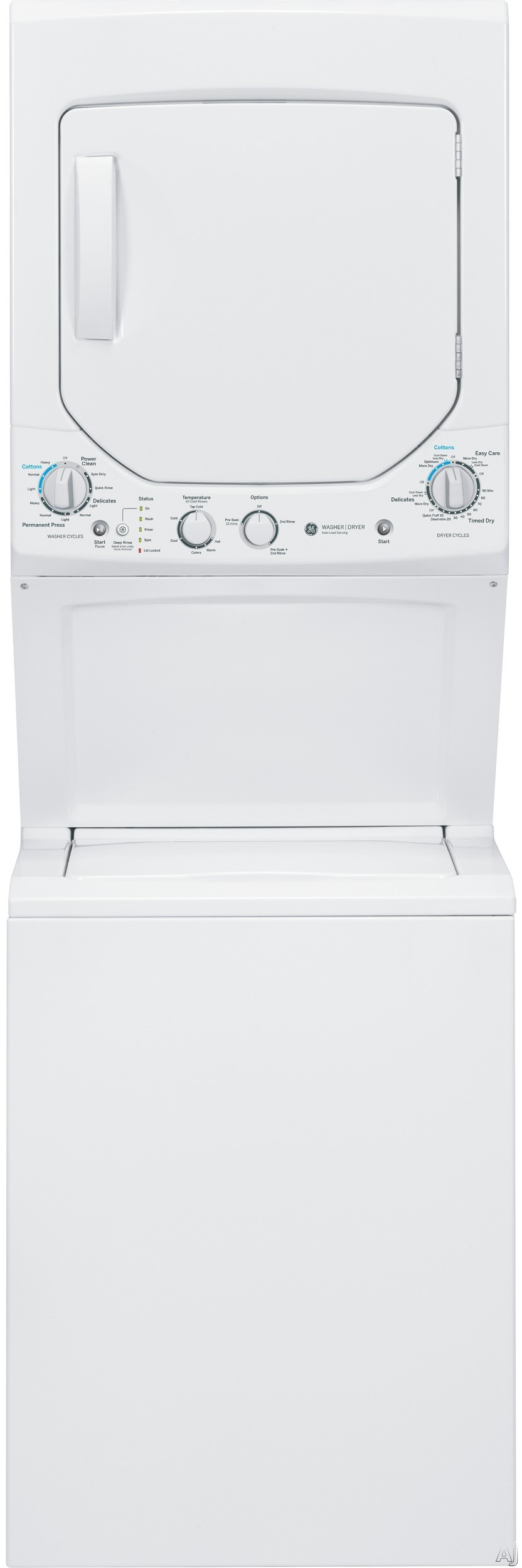 "Picture of 24"" Electric Laundry Center with 2.0 Cu. Ft. Washer and 4.4 Cu. Ft. DryerJust under 24 inches wide and 75 inches high, this electric laundry center by GE saves a lot on space, but definitely not on performance. Perfect for a closet or a bathroom alcove, this washer and dryer tower is easy to use with rotary mechanical knobs.The washer features 12 different cycles to handle all types of wash loads"