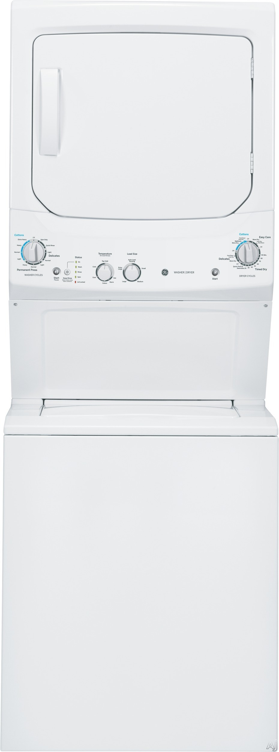 """Picture of 27"""" Electric Laundry Center with 3.2 Cu. Ft. Washer and 5.9 Cu. Ft. DryerJust under 27 inches wide and 76 inches high, this electric laundry center by GE saves a lot on space, but definitely not on performance. Perfect for a closet or a bathroom alcove, this washer and dryer tower is easy to use with rotary mechanical knobs.The washer features 11 different cycles to handle all types of wash loads"""