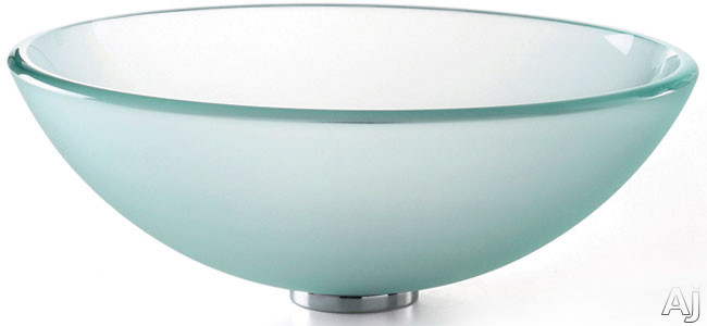 """Kraus Frosted Series GV101FR 16 1 / 2"""" Frosted Glass Vessel Sink with 5 1 / 2"""" Bowl Depth, Pop-up, U.S. & Canada GV101FR"""