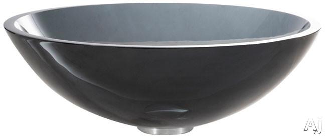 "Kraus Clear Black Series GV104SN 16 1 / 2"" Clear Black Glass Vessel Sink with 5 1 / 2"" Bowl Depth, U.S. & Canada GV104SN"