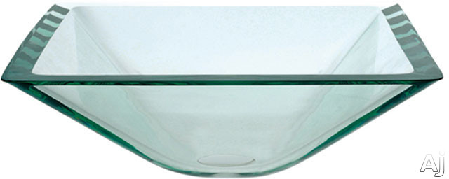 """Kraus Square Clear Series GVS90119MMG 16 1 / 2"""" Aquamarine Square Clear Glass Vessel Sink with 6"""", U.S. & Canada GVS90119MMG"""