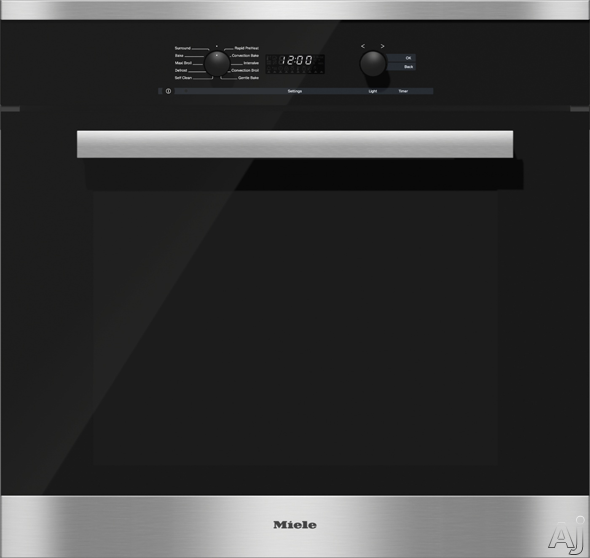 Miele PureLine DirectSelect Series H6280BP 30 Inch Single Electric Wall Oven with 4.6 cu. ft. Capacity, Convection, DirectSelect Controls, 8 Operating Modes, Rapid Preheat and Self-Cleaning: Clean Touch Steel