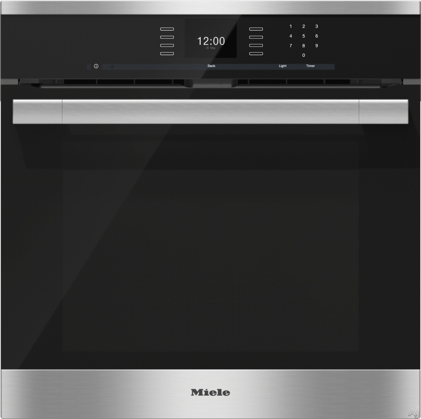 Miele ContourLine SensorTronic Series H6560BP 24 Inch Single Electric Wall Oven with Convection Cooking, SensorTronic Controls, MasterChef Programs, Rapid Preheat, Temperature Probe, PerfectClean Fini