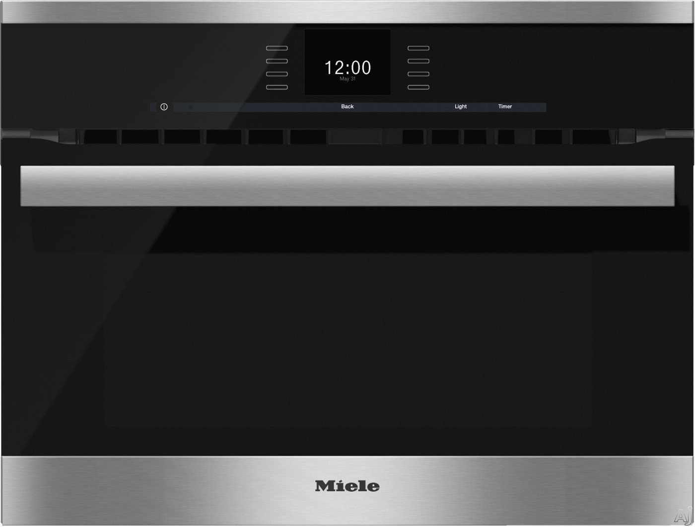 Miele PureLine SensorTronic Series H6600BM 24 Inch Single Electric Speed Oven with Convection Cooking, 2,200 Watt Microwave, SensorTronic Controls, MasterChef Programs, Temperature Probe, PerfectClean Finish and Silhouette Handle: Clean Touch Steel