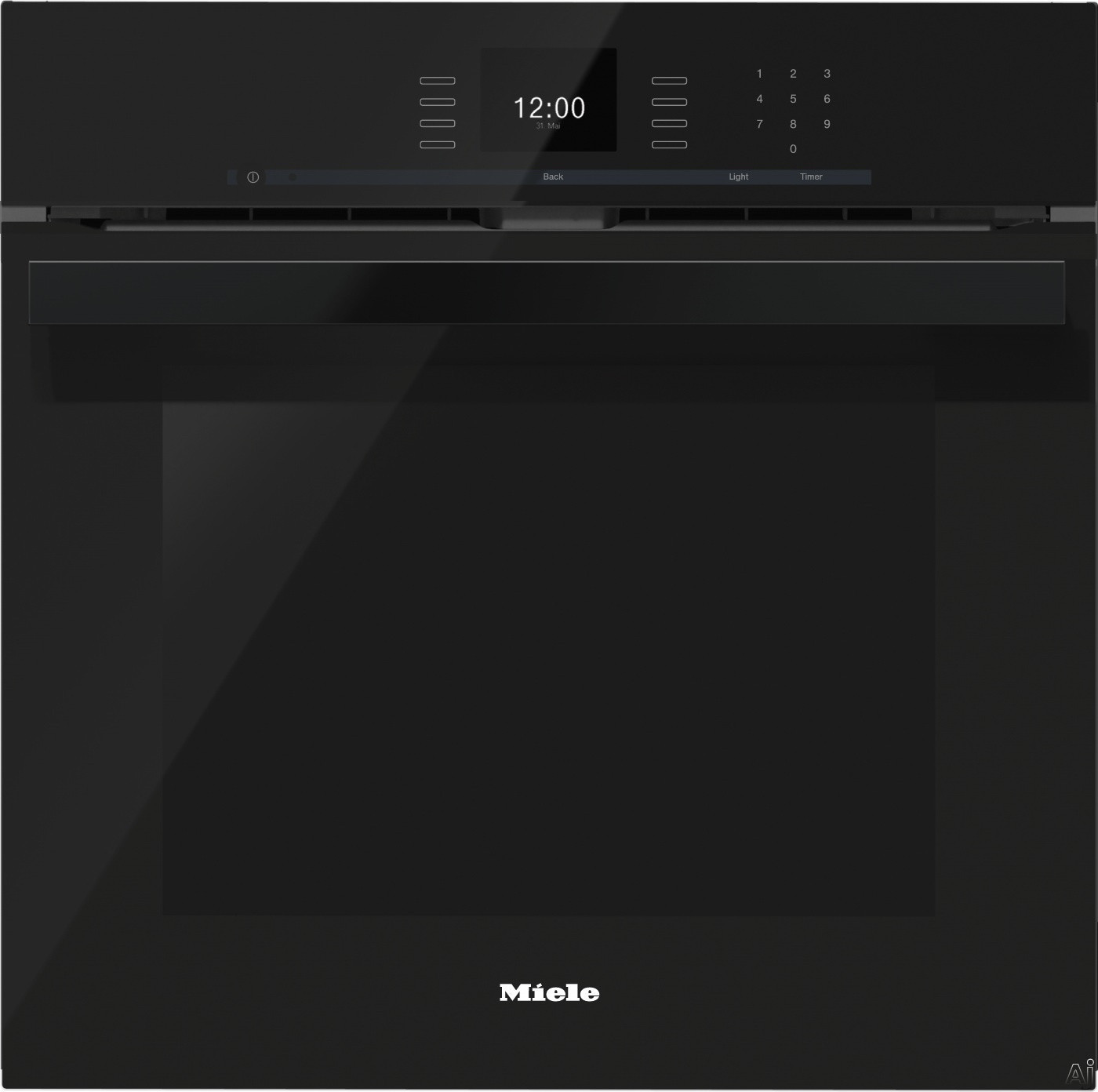 Miele PureLine SensorTronic Series H6660BPOBSW 24 Inch Single Electric Wall Oven with Convection Cooking, Self Cleaning Mode, SensorTronic Controls, MasterChef Programs, Temperature Probe, PerfectClea