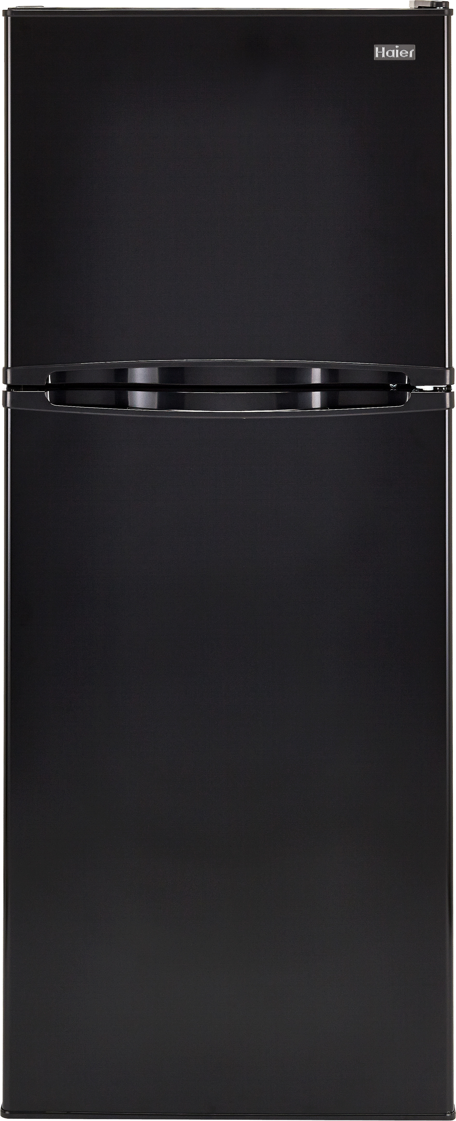 Haier HA10TG21SB 98 cu ft Top Mount Refrigerator with 2 Spill Proof Glass Shelves Humidity Controlled Crisper 3 Door Bins 1 Freezer Shelf 2 Freezer Door Bins and ADA Compliance Black