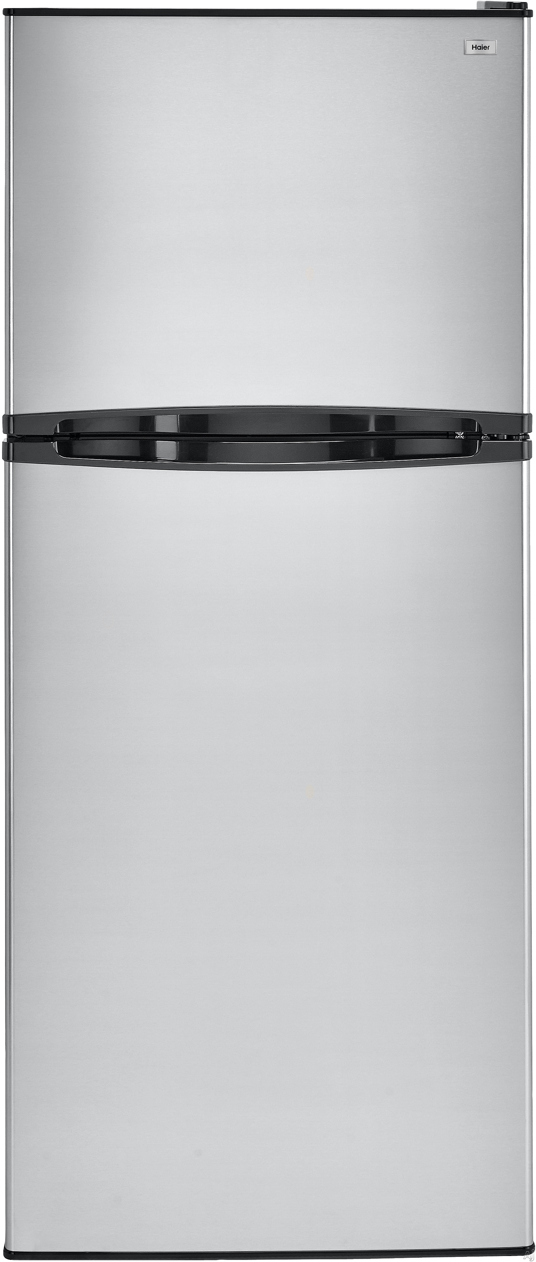 Haier HA10TG21 98 cu ft Top Mount Refrigerator with 2 Spill Proof Glass Shelves Humidity Controlled Crisper 3 Door Bins 1 Freezer Shelf 2 Freezer Door Bins and ADA Compliance