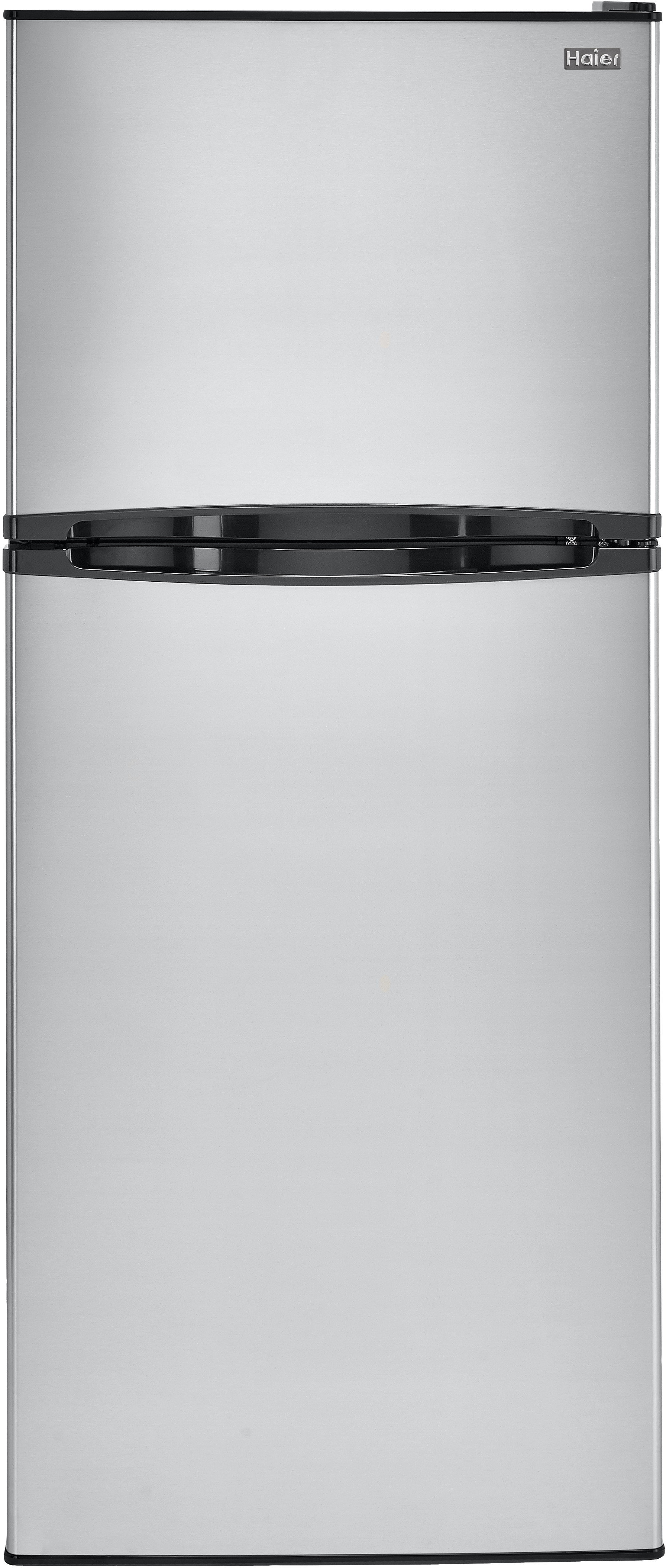 Haier HA12TG21 115 cu ft Top Mount Refrigerator with 2 Spill Proof Glass Shelves Humidity Controlled Crisper 4 Door Bins 1 Freezer Shelf 2 Freezer Door Bins and ADA Compliance