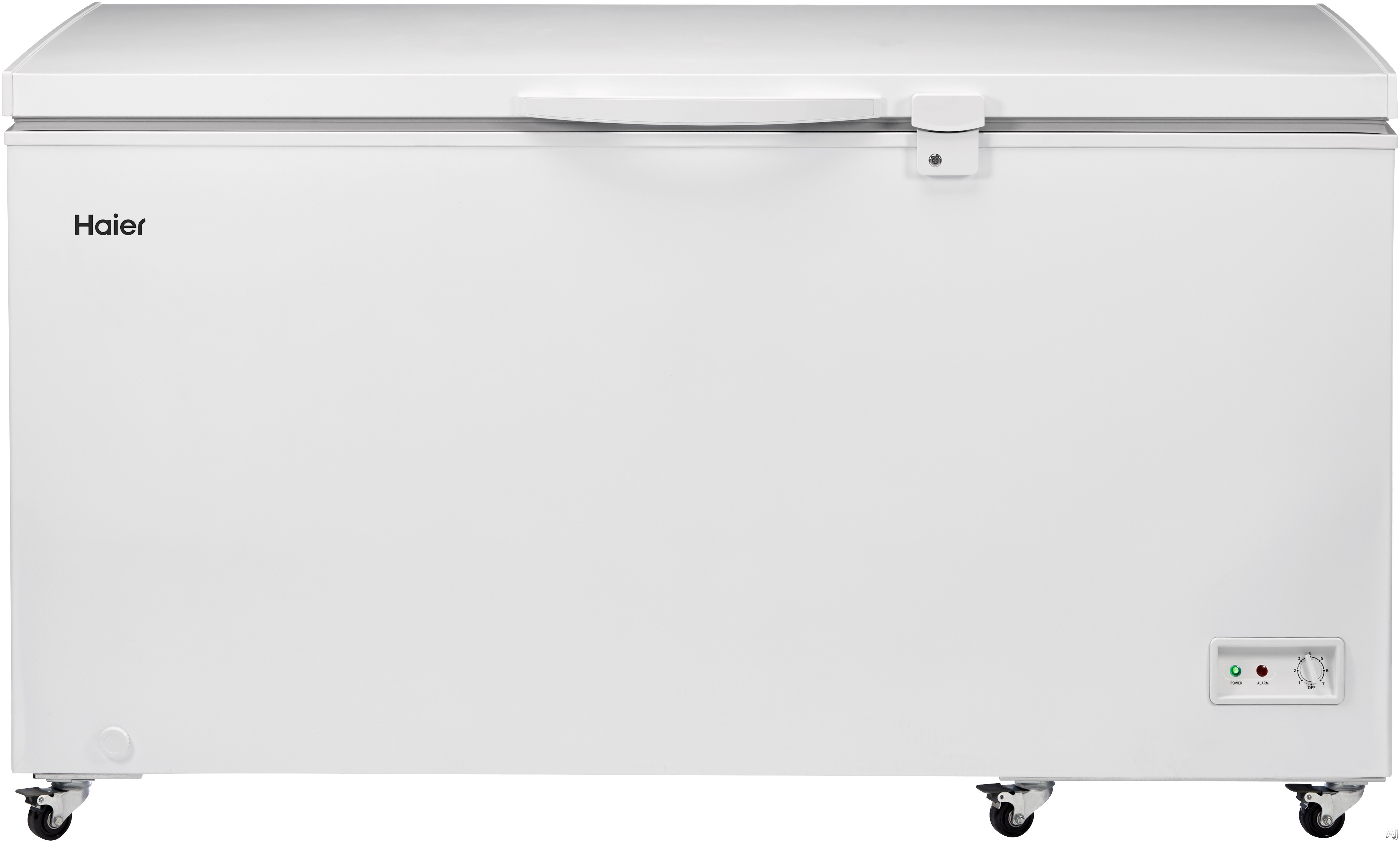 Image of Haier HFC1504ACW 60 1/2 Inch Chest Freezer with 14.5 Cu. Ft. Capacity, 2 Removable Baskets, Casters, Interior LED Lighting, Security Lock, High Temperature Indicator Light, Power On Indicator Light, Manual Defrost with Easy Access Defrost Drain and Space-