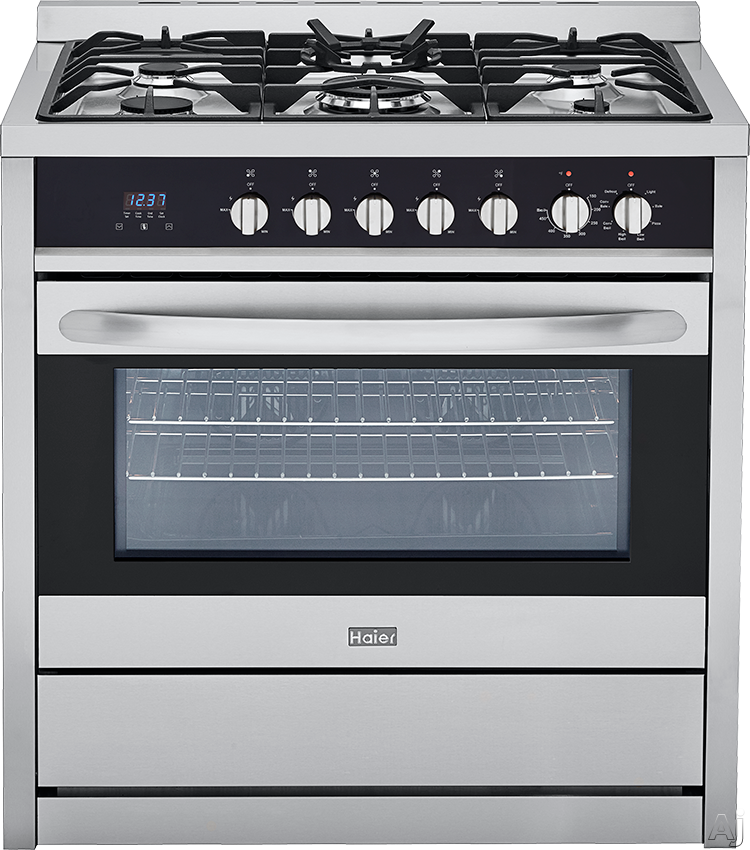 Haier HCR6250AGS 36 Inch Gas Range with 3.8 cu. ft. Capacity, 5 Sealed Burners, Triple Ring Burner, Convection, Wok Ring, Broil Pan Set Included, Digital Clock, Timer and Continuous Cast Iron Grates