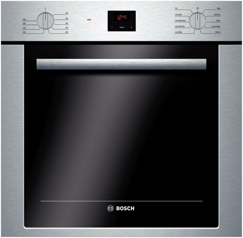 Bosch 500 Series Hbe5451uc 24 Inch Single Electric Wall Oven With 2.8 Cu. Ft. Capacity, European Convection Cooking, 10 Specialized Cooking Modes, Telescopic Rack, Halogen Lighting, Delay Start And Dualclean Cleaning System
