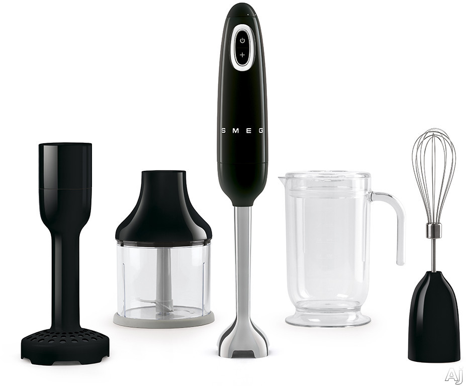 "Smeg 50's Retro Design HBF02BLUS 50's Retro Style Hand Blender with Turbo Function, Stainless Steel Blades with FLOWBLENDâ""¢ System, Anti-Slip Handle and Four Accessories Included: Black"