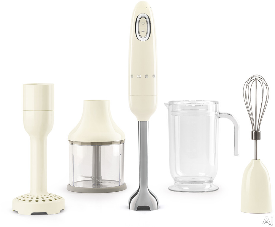 "Smeg 50's Retro Design HBF02CRUS 50's Retro Style Hand Blender with Turbo Function, Stainless Steel Blades with FLOWBLENDâ""¢ System, Anti-Slip Handle and Four Accessories Included: Cream"