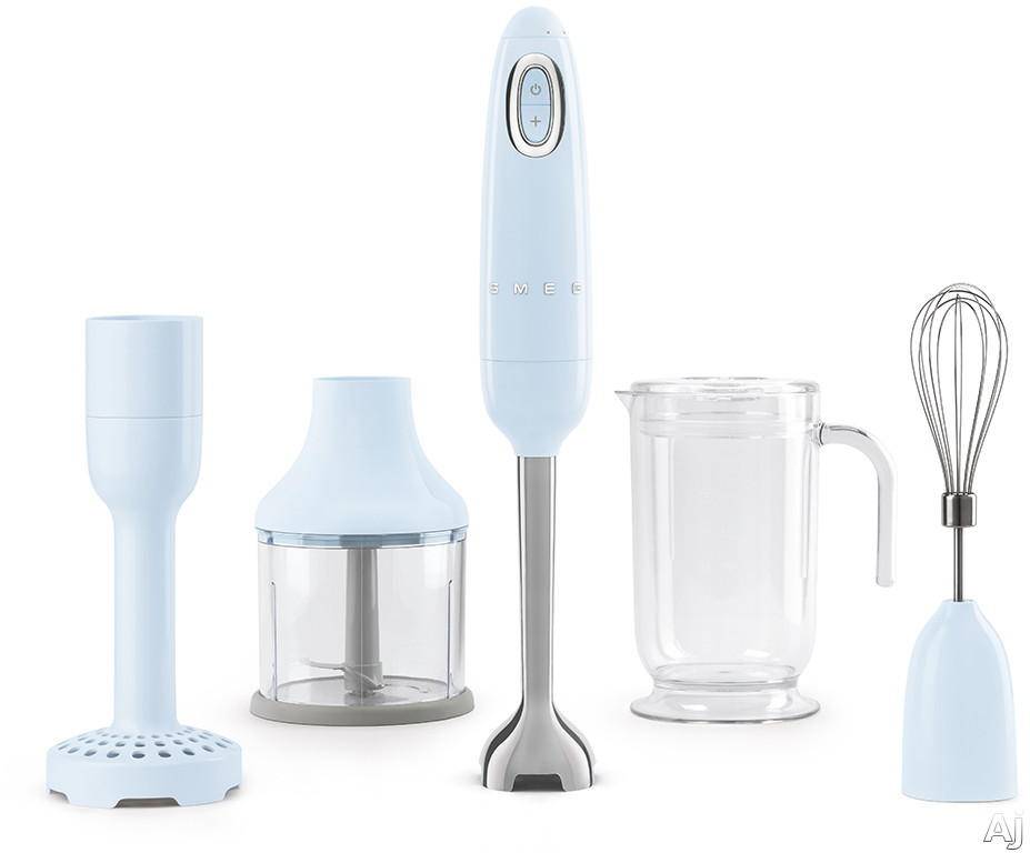 "Smeg 50's Retro Design HBF02PBUS 50's Retro Style Hand Blender with Turbo Function, Stainless Steel Blades with FLOWBLENDâ""¢ System, Anti-Slip Handle and Four Accessories Included: Pastel Blue"