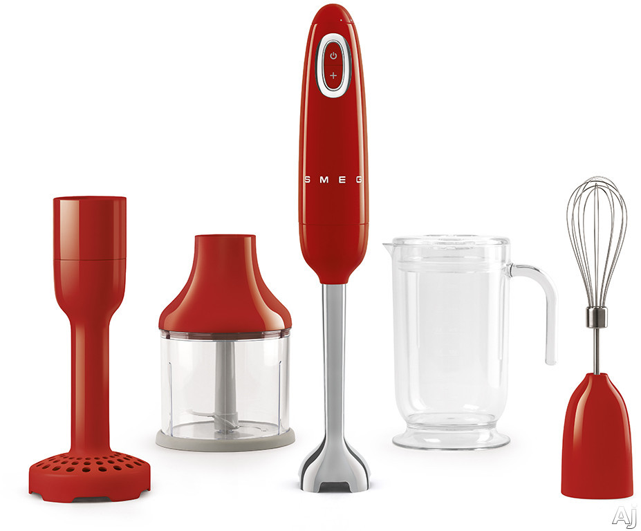 "Smeg 50's Retro Design HBF02RDUS 50's Retro Style Hand Blender with Turbo Function, Stainless Steel Blades with FLOWBLENDâ""¢ System, Anti-Slip Handle and Four Accessories Included: Red"