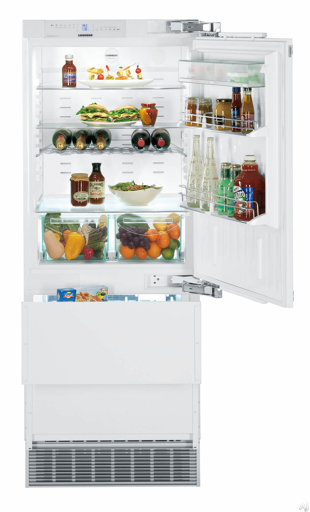 Liebherr HC1550 30 Inch Built-in Panel Ready Refrigerator with 2 Bottom Freezer Drawers, 2 Adjustable GlassLine Shelves, Wine Rack, Adjustable Door Bins, 2 Produce Drawers, Ice Maker, LED Lighting and ENERGY STAR Rated: Right Hinge HC1550