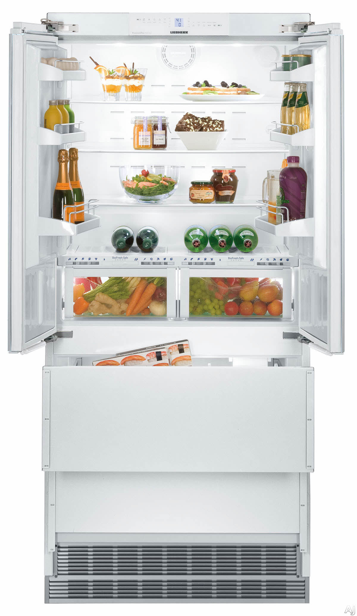 """3-Piece Kitchen Package with HCB2062 36"""""""" French Door Refrigerator  COB484G2N 48"""""""" Freestanding Gas Range  and MAES4818SS1200B 48"""""""" Under Cabinet Convertible Hood"""" 877776"""