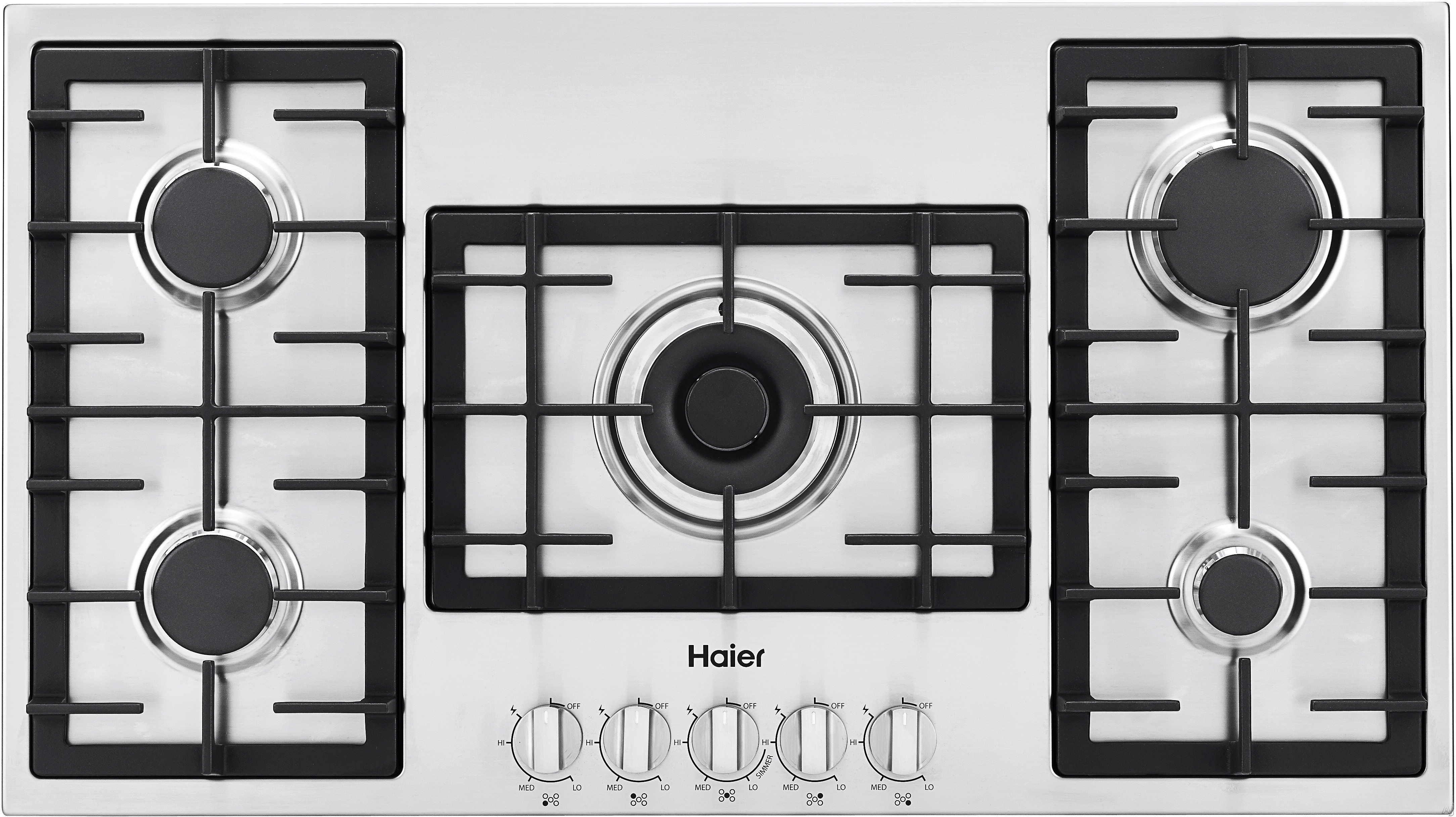 Haier HCC6430AGS 36 Inch Gas Cooktop with 5 Sealed Burners, Heavy Duty Cast Iron Grates, Electric Flame Ignition and Re-Ignition, LP Convertible and Heavy Duty Control Knobs