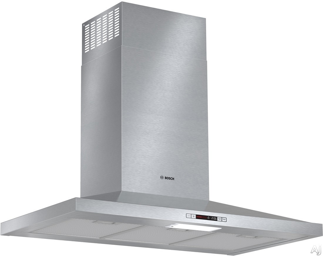 Bosch 300 Series HCP36E51UC 36 Inch Canopy Chimney Range Hood with 300 CFM Centrifugal Integrated Blower, Three Speed Touch Controls, LCD Display, Recirculation Mode Conversion and Dishwasher Safe Mesh Filter