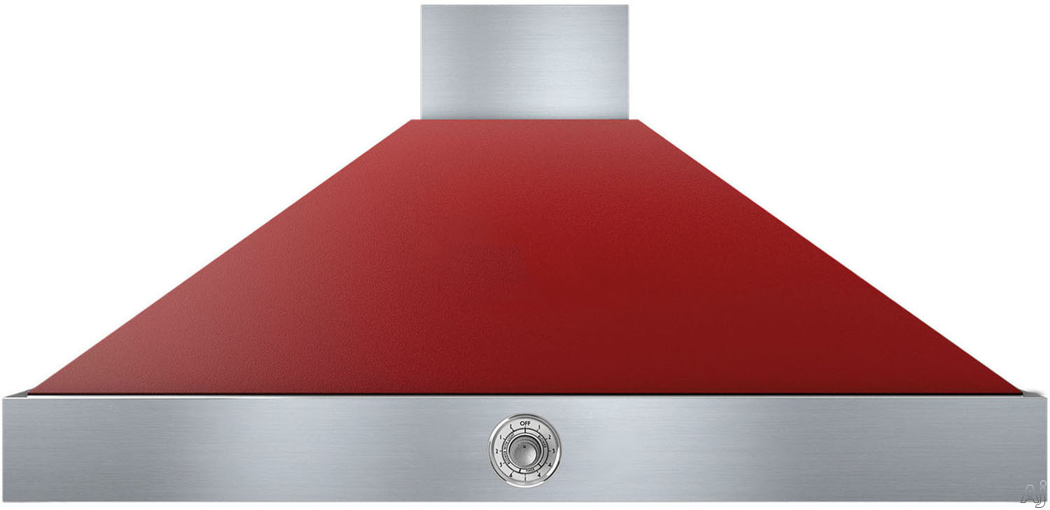 Superiore Deco Series HD481ACRC 48 Inch Wall Mount Canopy Hood with 600 CFM Blower, 4 Speed Settings, 4 Dishwasher Safe Baffle Filters, 2 Halogen Lights, 58 dBA Noise Level and Automatic Shut-Off: Red