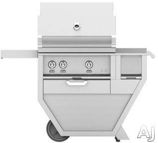 Image of Hestan GABR30CXPP 49 Inch Freestanding Grill with 525 sq. in. Grilling Area, 2 Trellis Burners, Rotisserie, 62,000 BTU, Built-In Worktop, Horizon Spring Assisted Hood, Warming Rack, Temperature Gauge and One-Push Ignition: Lush